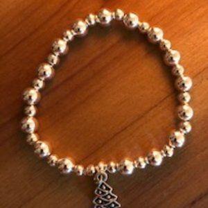 Silver Beads Bracelet W/ Xmas Tree Charm